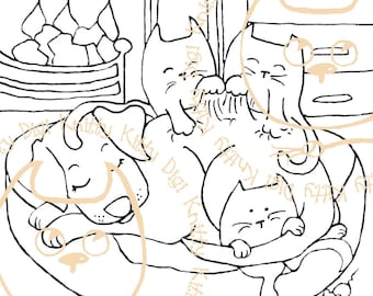 Digi Stamp Instant Download. Labrador Massage - Knitty Kitty Digis No. 8.