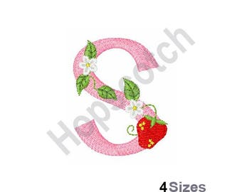 Letter S - Machine Embroidery Design, Strawberry