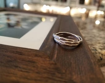 Handmade Silver Linked Rings- Lucky Fish