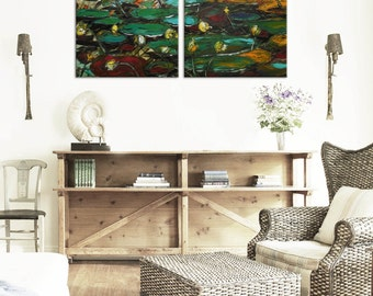Blooming pond - lily Original green impressionism Floral Oil Painting Canvas Palette Knife gallery diptych ready hang impasto water lilies