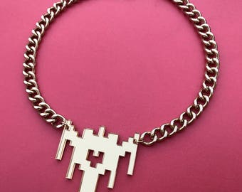Gold Mirrored Galaga Inspired Ship Necklace (Keychain Option Available Too)