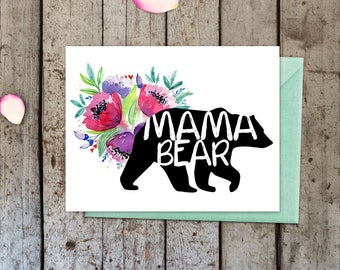 Mama Bear Greeting Card, Card for her, mothers day, mothers day card, birthday card, first time mom, blank inside