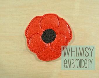 Feltie embroidery design,Poppy Flower  MACHINE EMBROIDERY FILE Digital Design, small embroidery, felties pattern,