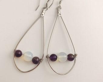 Moonstone and Amethyst earrings