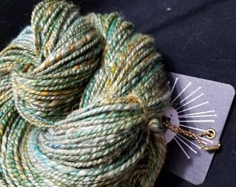 Handspun Camel Silk Discovery Hand Spun Yarn Worsted Weight 200 Yards Green/Gold Camel Down Knitting/Crochet/Weaving Hand made Soft Luxury