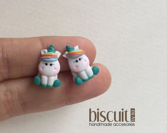 Earrings • Unicorn studs earrings • Rainbow • Kawaii • Cold porcelain