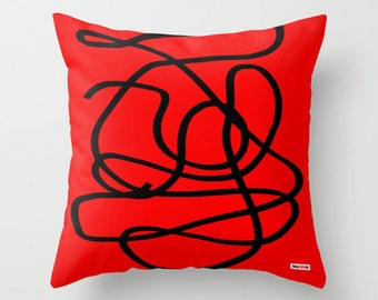 Decorative pillow cover- red pillow -pillow for sofa - couch pillow - contemporary pillow case - Modern pillow
