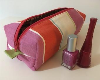 Pretty wash bag, Waterproof makeup pouch, Ladies travel toiletries bag, Beauty bag, Cosmetics case, Zipped box bag, Beautiful striped fabric