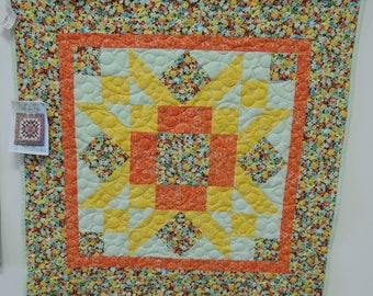 Spring Rustic Star wall hanging Quilt. wallhanging yellow orange blue flowers 4004