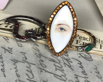 Georgian Lover's Eye Ring - Miniature Eye Painting - Paste and Gold Navette Ring