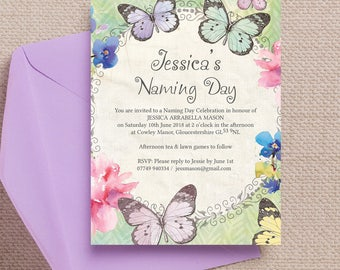 Personalised Pastel Watercolour Butterfly Garden Naming Day Invitation Cards