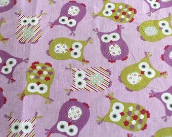 Fabric coupon 50 x 70 cm little purple owls