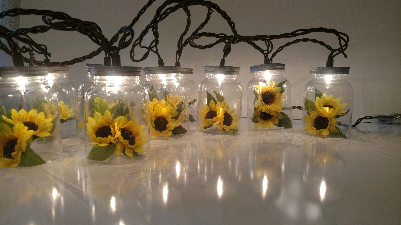 Sunflower Mason Jar String Lights Summer