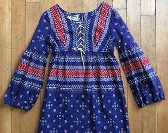 Vintage 1960s mini dress // 60s bandana print dress