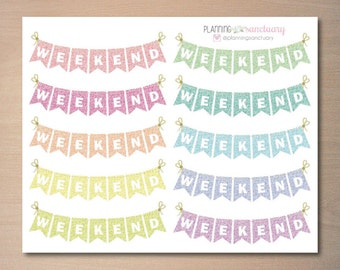 Glitter Weekend Banner Pastel Planner Stickers Perfect for Erin Condren, Kikki K, Filofax and all other Planners