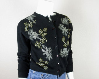 Vintage 1960s Heavily Beaded Cardigan Sweater / Lambswool, Angora / Hand Beaded Flowers, Floral / Sz S, M / Silver Gold Beads / Hong Kong