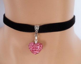 black velvet choker, rhinestone heart, pink heart, stretch velvet