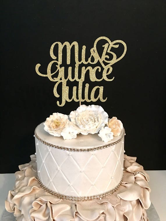 Any Name Glitter Mis Quince Birthday Cake Topper Sweet 15