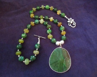 Green Multi Shade Necklace Set