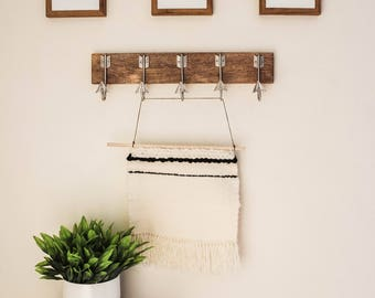 Woven Wall Hanging With Natural Wood Rod