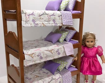 American Girl Doll: Furniture Triple Bunk Bed with Paris bedding.  Last One.