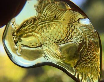 Amber Koi Fish Carving