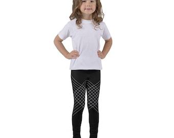 White Lined Kid's leggings