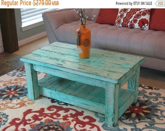 Sale Rustic Coffee Table with Shelf in Muted Aqua **choose from rounded or squared corners**