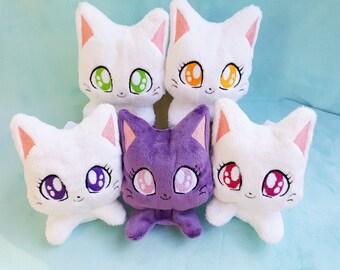 NEW White Small Cat Beanie // Kawaii Kitty Plushie // Handmade Stuffed Animal Plush Toy // Blue or Pink Neko // Ready to Ship