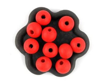 50 x 10mm watermelon red orange wooden bead