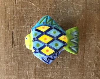 Colorful Fish Knob, Fish Drawer Pull, Fish Handle, Fish Door Knob, Beach House Decor, Nautical Knobs, Fish Hardware, Ceramic Knob, Fish Knob