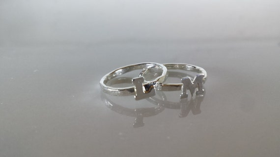 Sterling Silver Initial Ring - ONE Custom Letter Stacking Ring