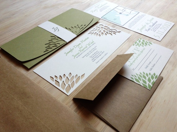 Simple Homemade Wedding Invitations: Simple Elegance Wedding Invitation Handmade Wedding