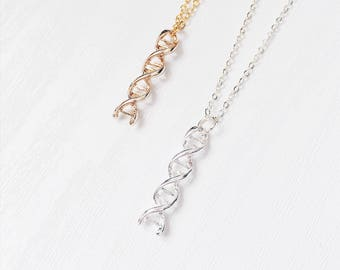 DNA Strand Science Necklace | DNA | Neurotransmitter | Silver Tone | Science | Cool