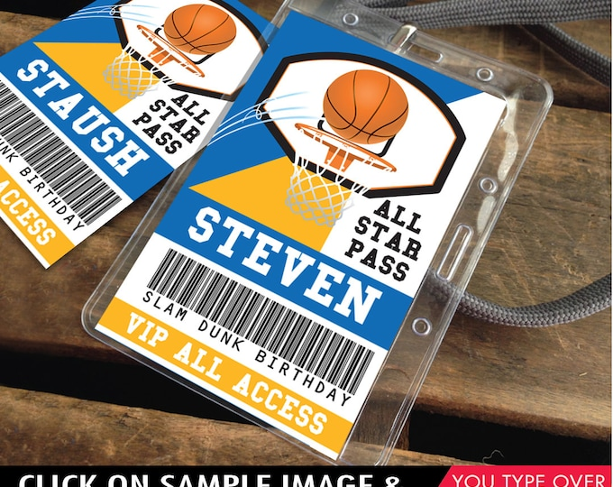 Basketball All Star ID Badge - Basketball Party, Basketball Birthday, All Star, Blue and Gold | Editable DIY Instant Download PDF Printable
