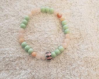 Mint green light pink stretch bracelet