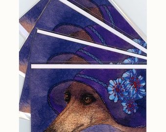 4 x whippet greyhound mystery hat greeting cards