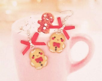 earrings kawaii gingerbread polymer clay