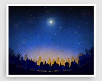 The secret of the night forest - Art Illustration Print Poster Nature Art Home decor Nature prints Kids wall art Blue Night sky Stars Moon