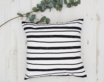 Handmade cushion with minimalist stripes, Cushions, cushion cover, decorative cushions, pillows, throw pillow, home decor, black white