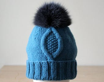 Cashmere wool hat for Women, Blue knit hat, Cable knit hat, Knit teal hat with real fur pom pom, Slouch beanie, Winter hats