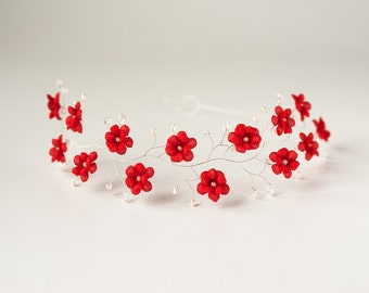 51_Red flower crown, Silver headband, Red wedding, Floral hair accessory, Wedding hair piece, Head piece wedding, Bridal crown,Crown flowers