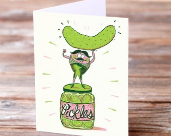 Pickle Strong man thank you greeting card