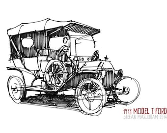 1911 Model T Ford - Original A4 Pen Sketch