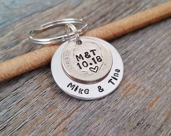 10 year anniversary keychain - custom husband or wife keychain - gift for husband - gift for wife - custom dime -custom anniversary keychain