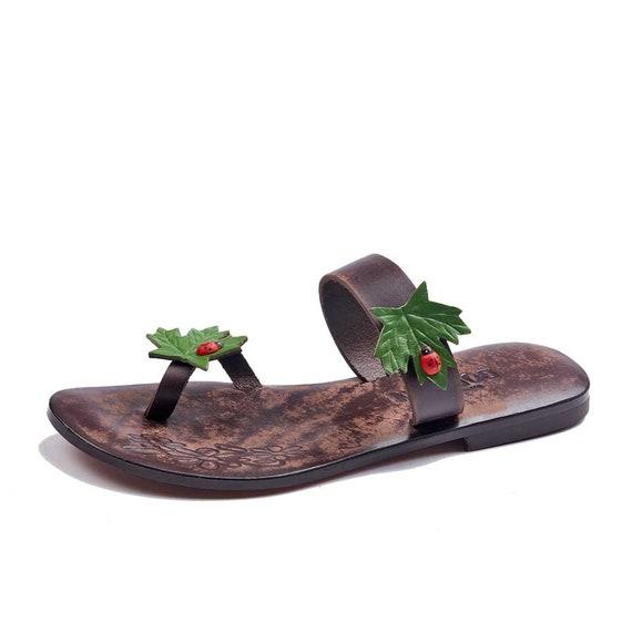 Sandals brown flops Flip Flops flip Handmade flops flip Womens Comfortable Summer Sandals Leather Bwf4O4