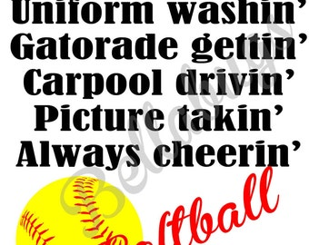 Softball MOM with Your Team Colors PRINTABLE Digital Iron-On Transfer Design - Personalized - DIY - Do It Yourself