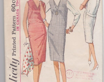 Vintage 1964 sewing pattern for sheath-style jumper or sleeveless dress -- Simplicity 5414, size 16