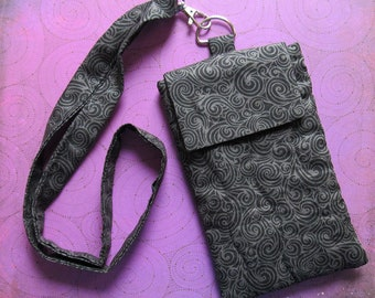 Gothic Swirls iPhone Neck Pouch Lanyard Burtonesque Gray Cell Phone iPod Goth