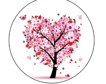 tree of life, 30mm pink heart
